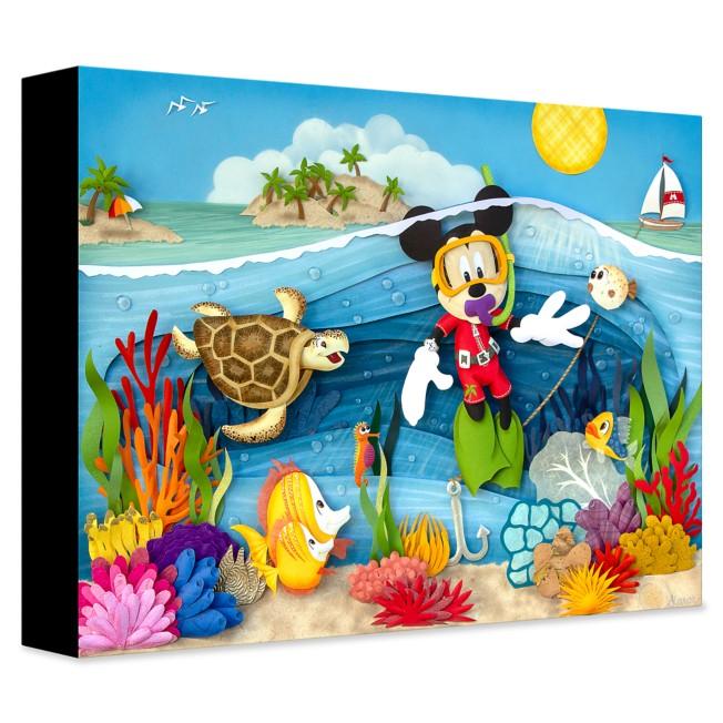 Mickey Mouse ''Scuba Mickey'' Giclée on Canvas by Karin Arruda – Limited Edition