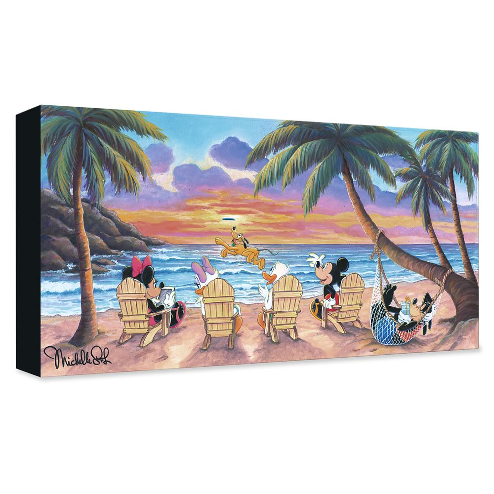 Mickey Mouse and Friends ''Beautiful Day at the Beach'' Giclée on Canvas by Michelle St.Laurent – Limited Edition