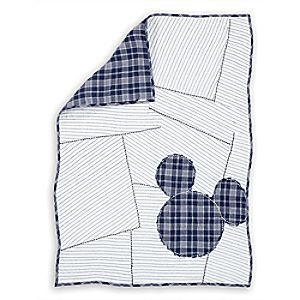 Mickey Mouse Ticking Stripe Mickey Quilt by Ethan Allen