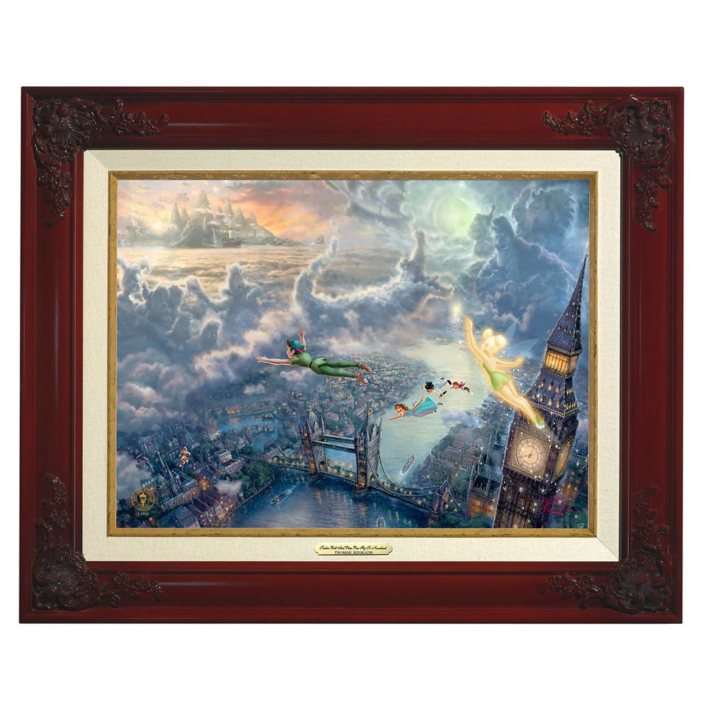''Tinker Bell and Peter Pan Fly to Never Land'' Framed Canvas Classic by Thomas Kinkade