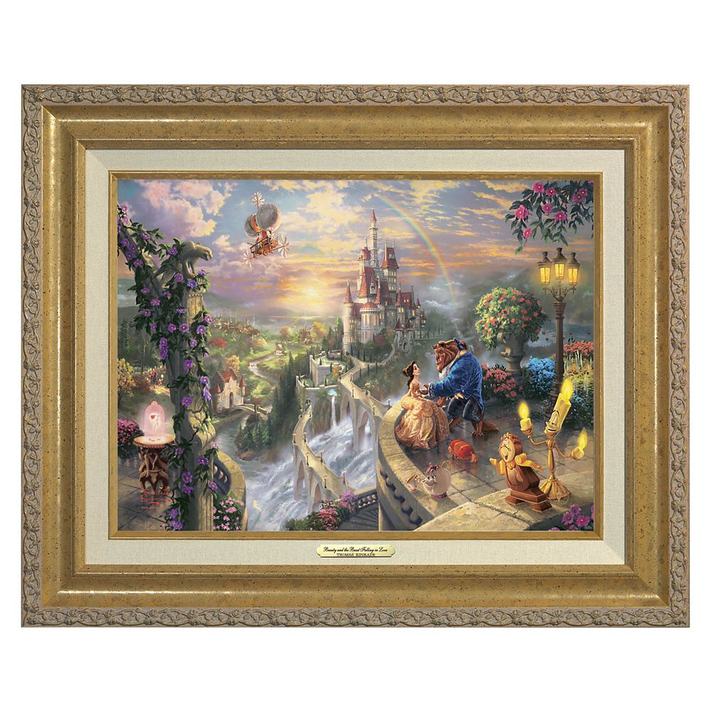 ''Beauty and the Beast Falling in Love'' Framed Canvas Classic by Thomas Kinkade