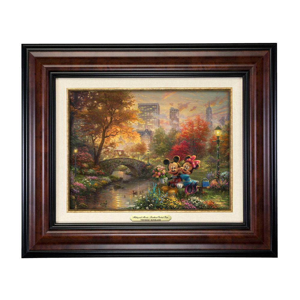 ''Mickey and Minnie Sweetheart Central Park'' Canvas Classic by Thomas Kinkade Studios  Framed Official shopDisney