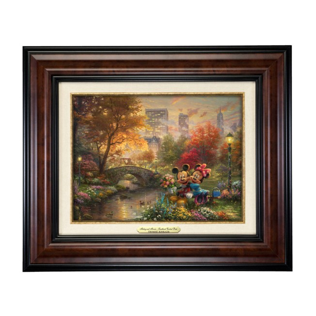 ''Mickey and Minnie Sweetheart Central Park'' Canvas Classic by Thomas Kinkade Studios – Framed