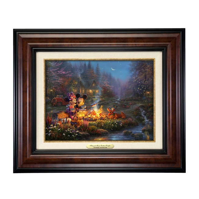 ''Mickey and Minnie Sweetheart Campfire'' Canvas Classic by Thomas Kinkade Studios – Framed