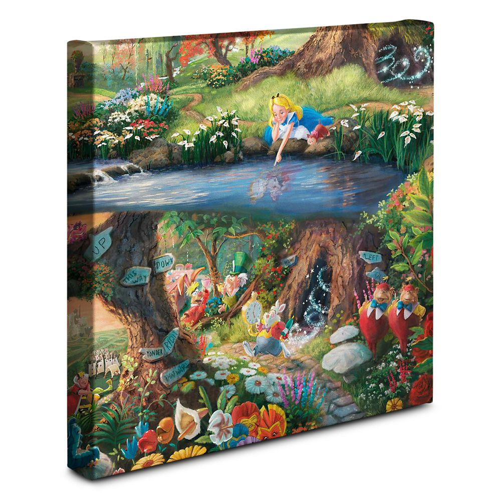 """Alice in Wonderland"" Gallery Wrapped Canvas by Thomas Kinkade Studios Official shopDisney"