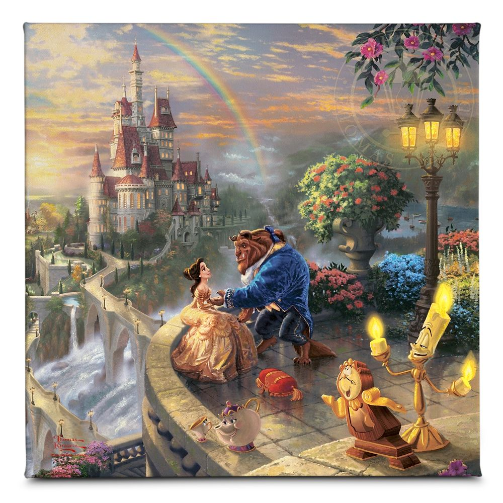 ''Beauty and the Beast Falling in Love'' Gallery Wrapped Canvas by Thomas Kinkade