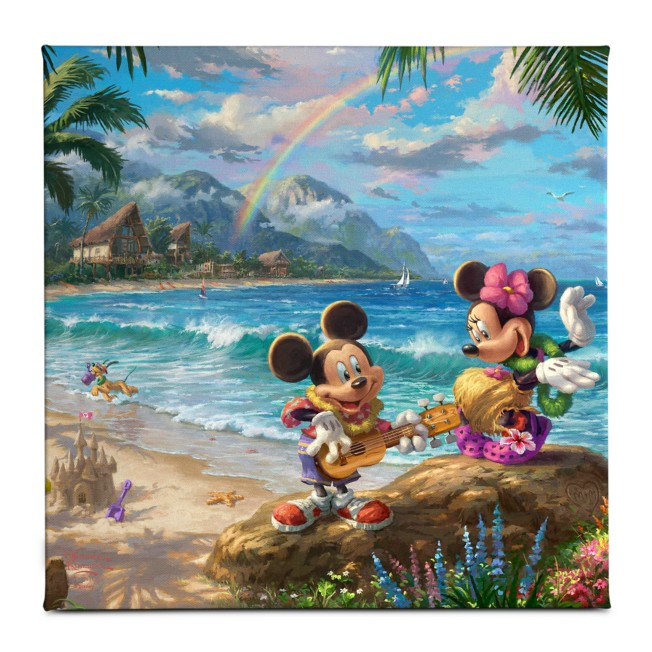 ''Mickey and Minnie in Hawaii'' Gallery Wrapped Canvas by Thomas Kinkade Studios