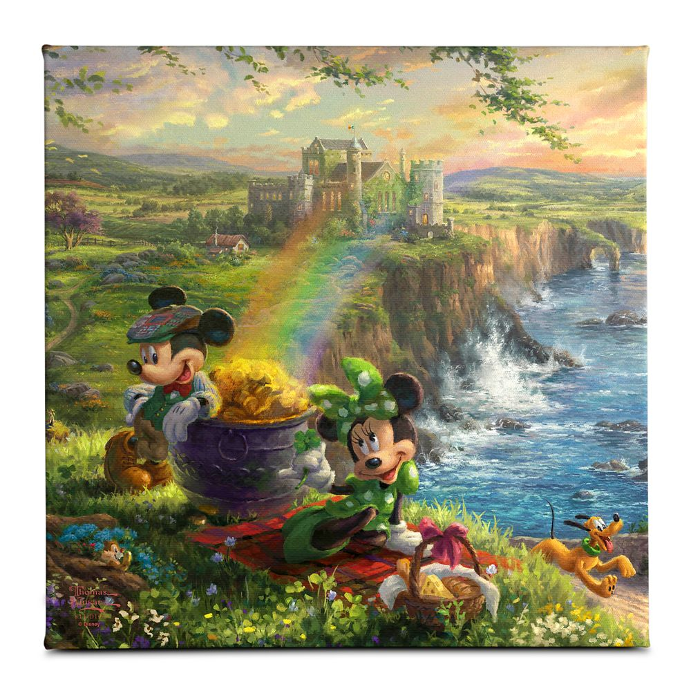 ''Mickey and Minnie in Ireland'' Gallery Wrapped Canvas by Thomas Kinkade Studios