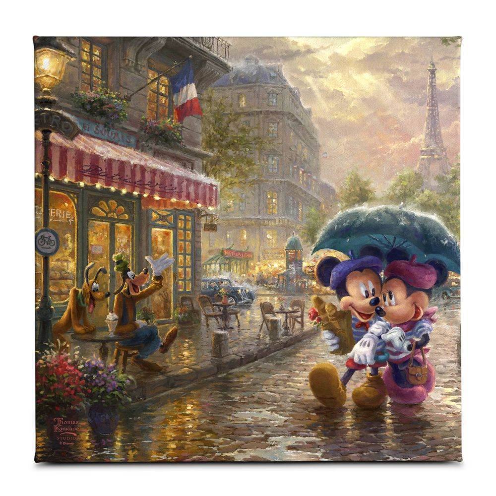 ''Mickey and Minnie in Paris'' Gallery Wrapped Canvas by Thomas Kinkade Studios