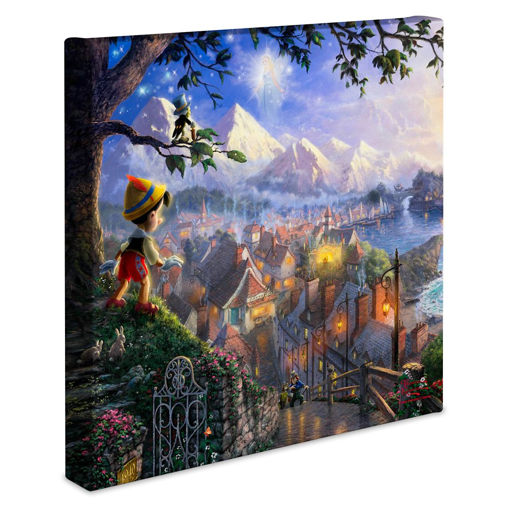 ''Pinocchio Wishes Upon a Star'' Gallery Wrapped Canvas by Thomas Kinkade Studios
