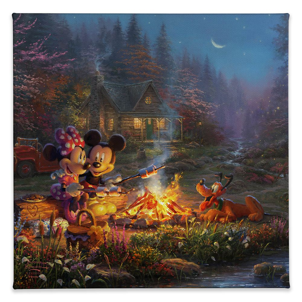 ''Mickey and Minnie Sweetheart Campfire'' Gallery Wrapped Canvas by Thomas Kinkade Studios