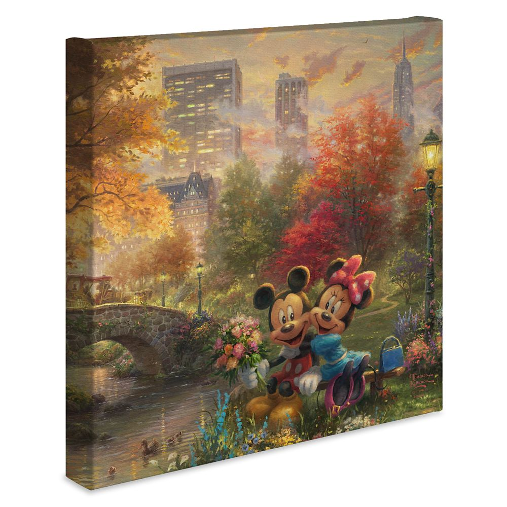''Mickey and Minnie Sweetheart Central Park'' Gallery Wrapped Canvas by Thomas Kinkade Studios