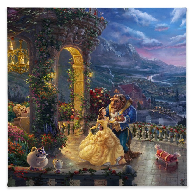 ''Beauty and the Beast Dancing in the Moonlight'' Gallery Wrapped Canvas by Thomas Kinkade Studios