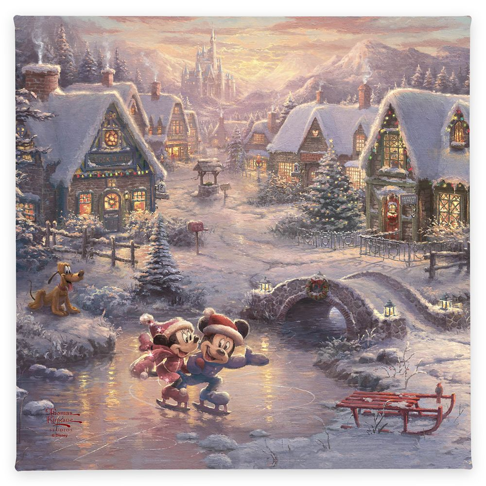 ''Mickey and Minnie Sweetheart Holiday'' Gallery Wrapped Canvas by Thomas Kinkade Studios