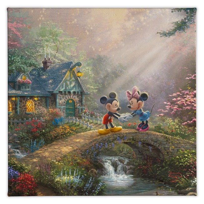''Mickey and Minnie Sweetheart Bridge'' Gallery Wrapped Canvas by Thomas Kinkade Studios