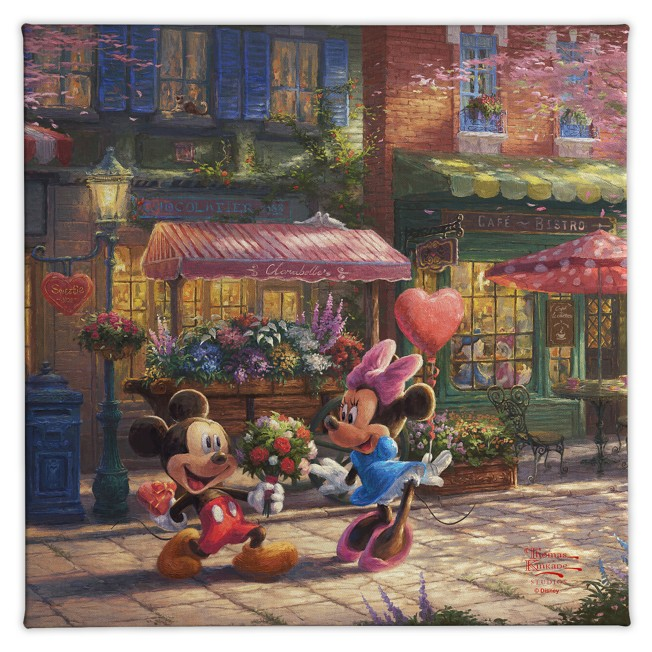 ''Mickey and Minnie Sweetheart Café'' Gallery Wrapped Canvas by Thomas Kinkade Studios