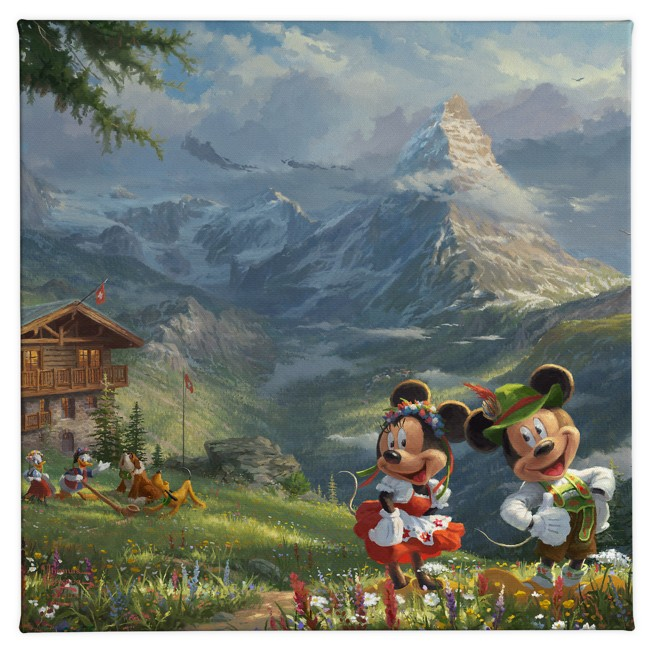 ''Mickey and Minnie in the Alps'' Gallery Wrapped Canvas by Thomas Kinkade Studios