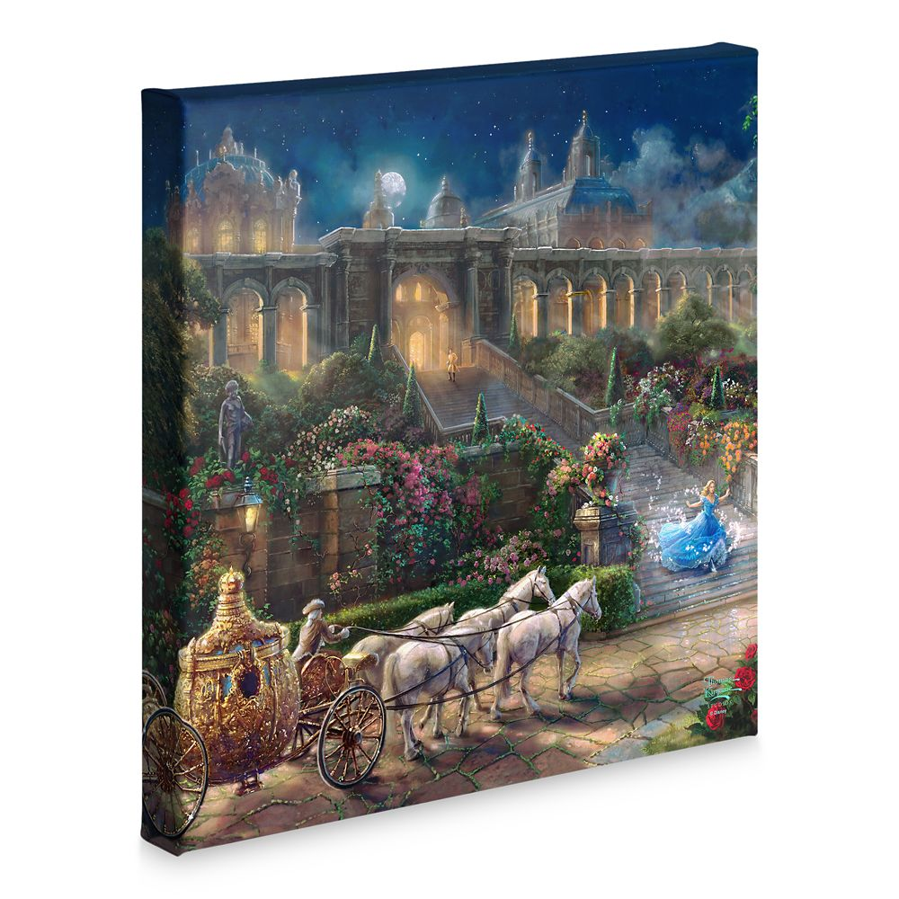 ''Clock Strikes Midnight'' Gallery Wrapped Canvas by Thomas Kinkade Studios – Cinderella