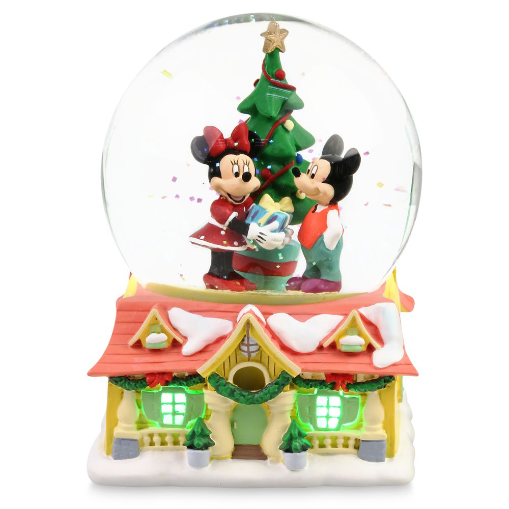 Mickey and Minnie Mouse Light Up Holiday Snow Globe by Department 56