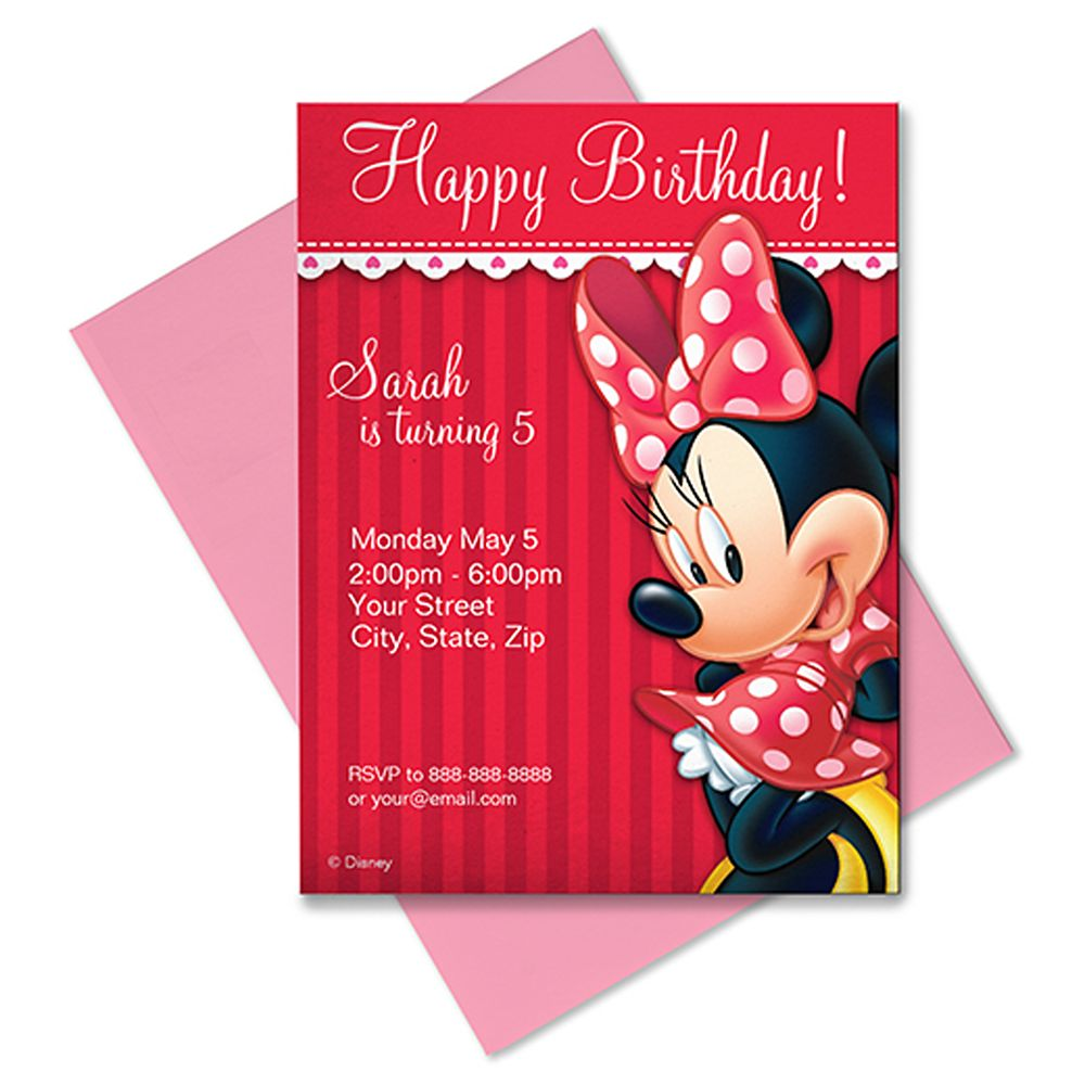 Minnie Mouse Invitation  Customizable  Red Official shopDisney