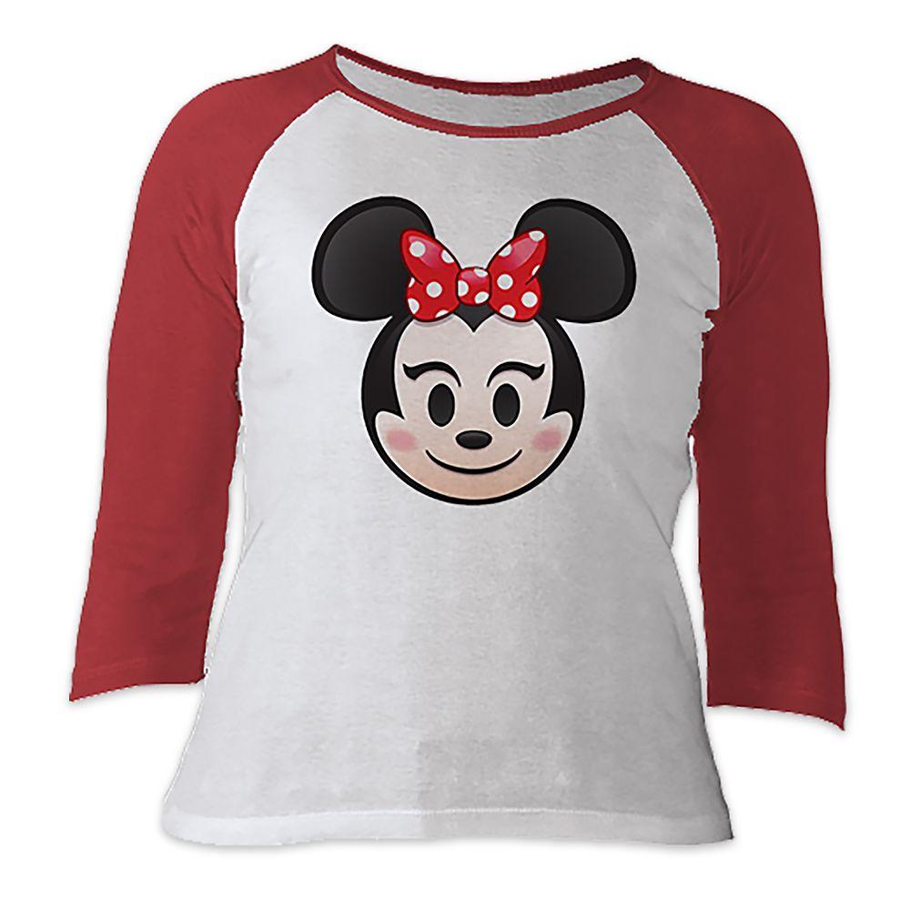 Minnie Mouse Emoji 3/4 Sleeve Raglan Tee for Women  Customizable Official shopDisney
