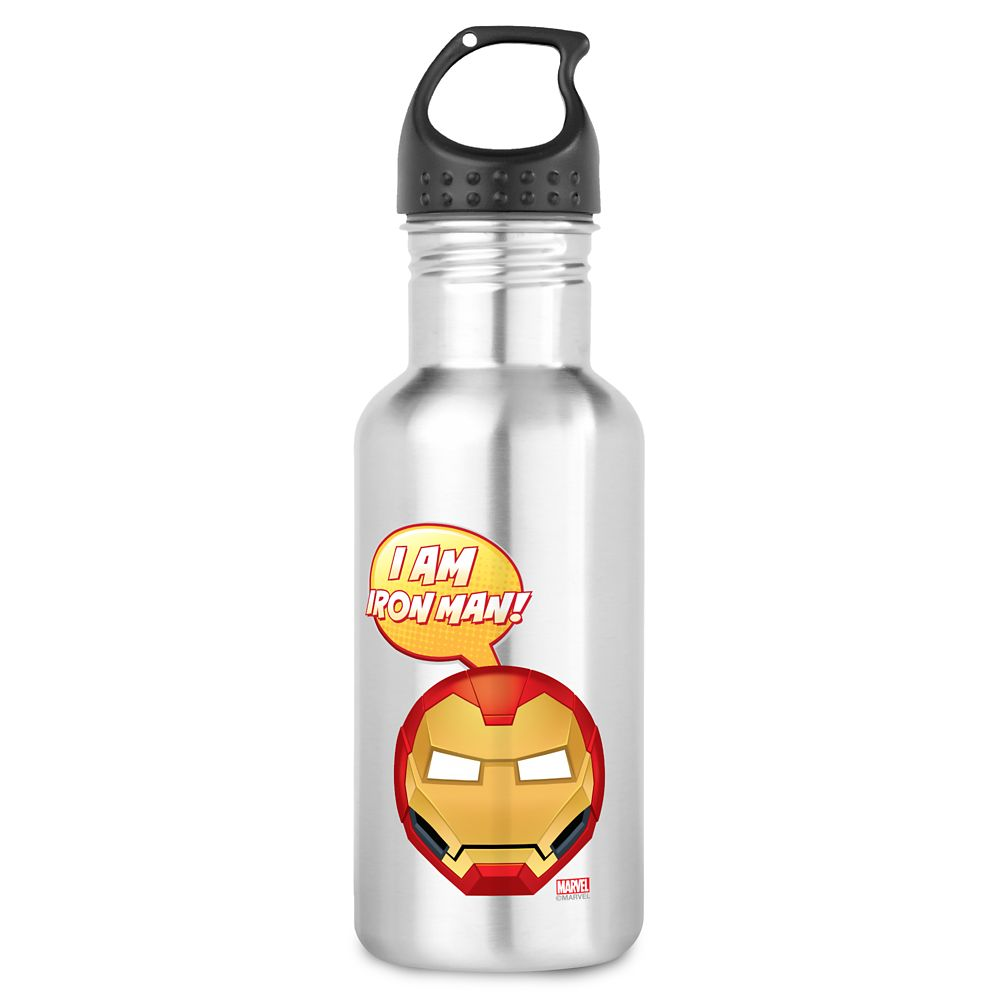''I Am Iron Man!'' Text Emoji Water Bottle – Customizable