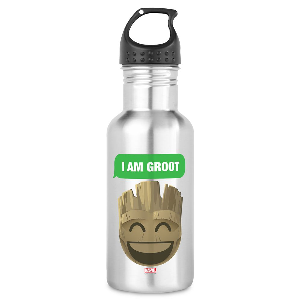 ''I Am Groot'' Text Emoji Water Bottle – Customizable