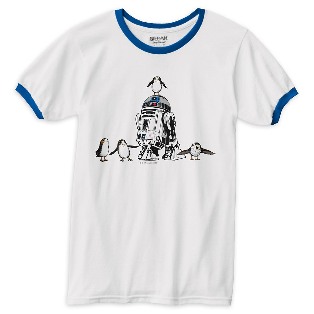 Star Wars: The Last Jedi R2-D2 & Porgs Ringer T-Shirt for Men – Customizable