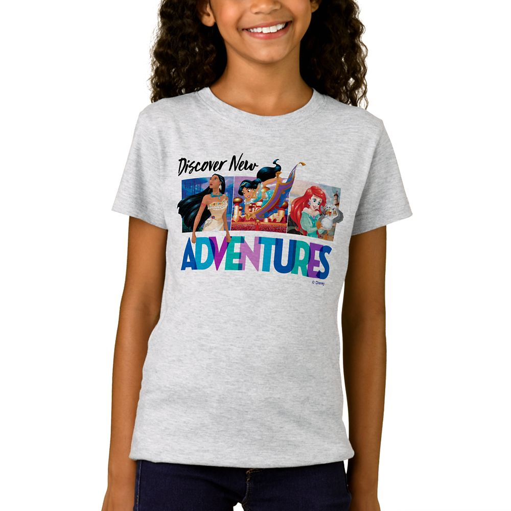 "shopdisney.com - Disney Princess ""Discover New Adventures"" T-Shirt for Girls  Customizable 18.95 USD"