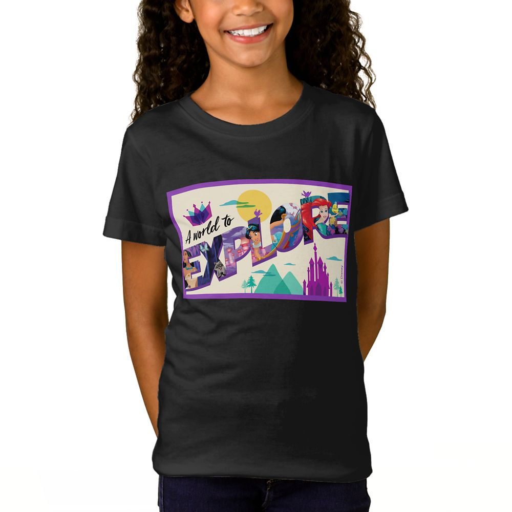 Disney Princess ''A World to Explore'' T-Shirt for Girls – Customizable