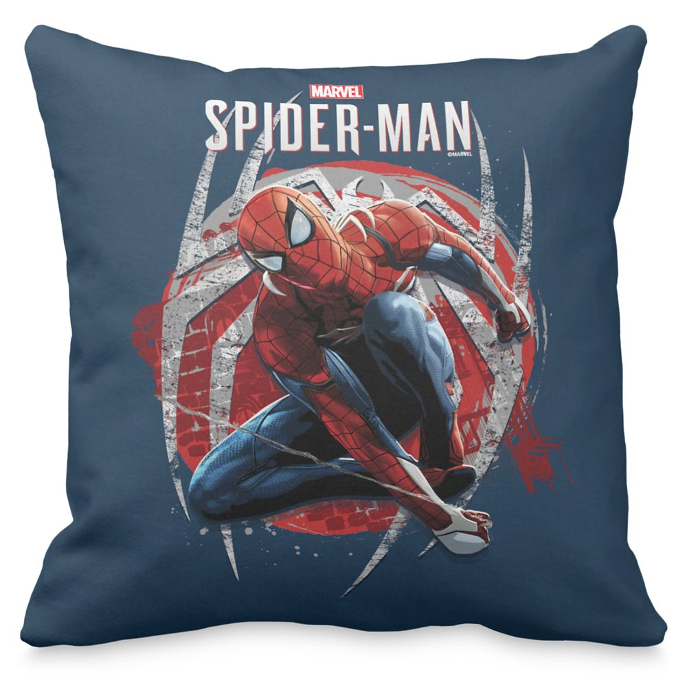 Spider-Man Web Swing Street Art Graphic Throw Pillow – Customizable