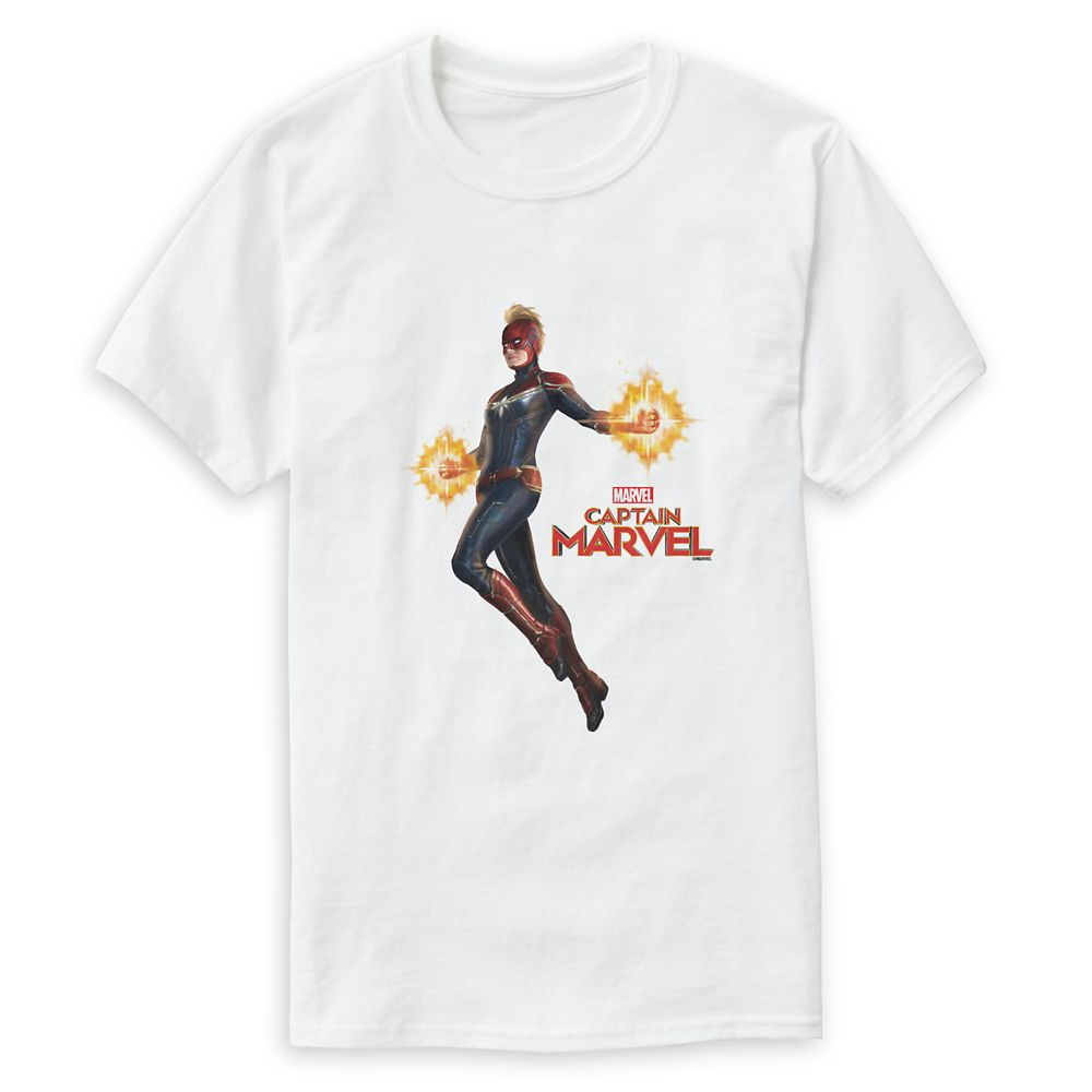 Marvel's Captain Marvel Flying with Energy Fists T-Shirt for Men – Customizable