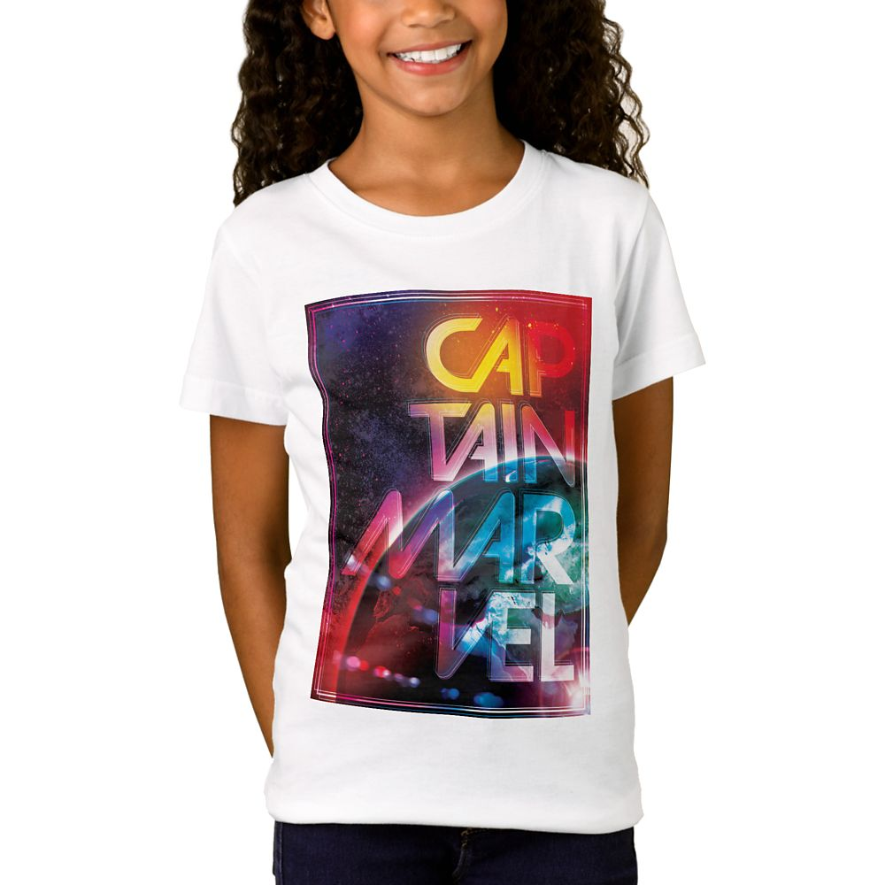 Marvel's Captain Marvel Colorful Planetary Horizon T-Shirt for Girls – Customizable
