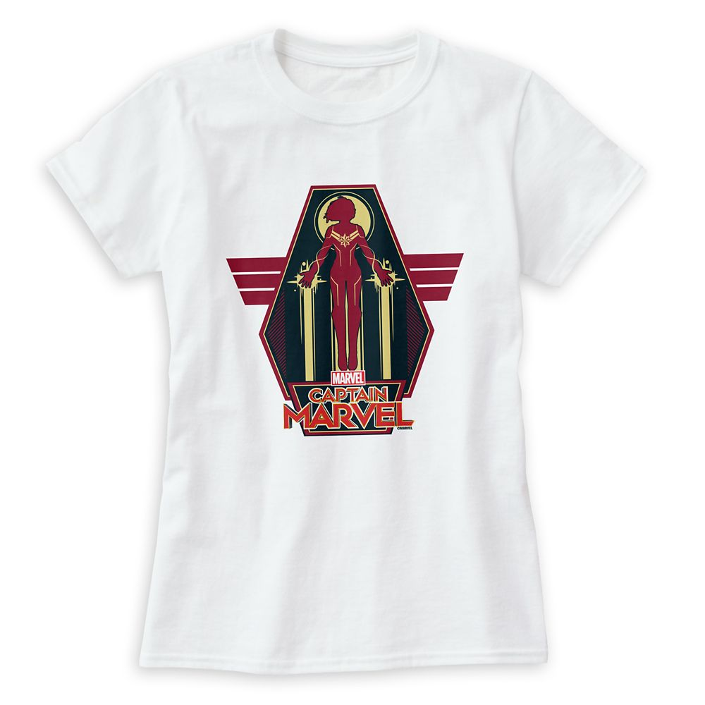 Marvel's Captain Marvel Flying Character Badge T-Shirt for Women – Customizable