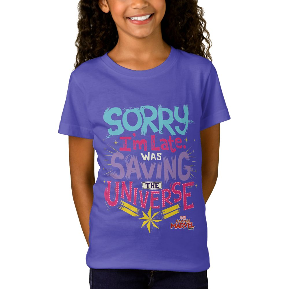 Marvel's Captain Marvel Saving the Universe Typography T-Shirt for Girls – Customizable