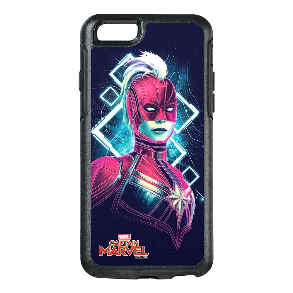 35 Amazing Marvel Gift Ideas featured by top US Disney blogger, Marcie and the Mouse: Marvel's Captain Marvel Glowing Character Symmetry iPhone 8/7 Phone Case by OtterBox Customizable Official shopDisney