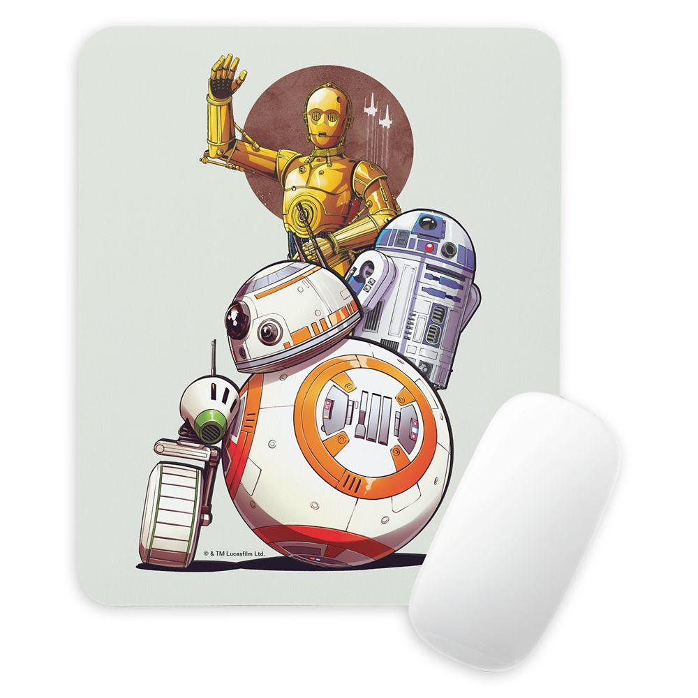 Droids Illustrated Collage Mouse Pad – Star Wars: The Rise of Skywalker – Customizable