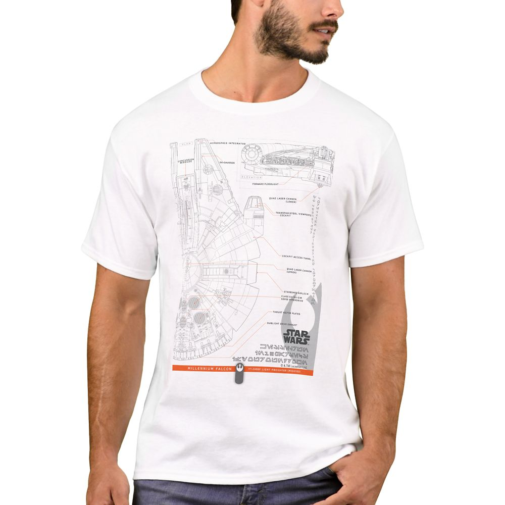 Millennium Falcon Schematic T-Shirt for Men – Star Wars: The Rise of Skywalker – Customizable