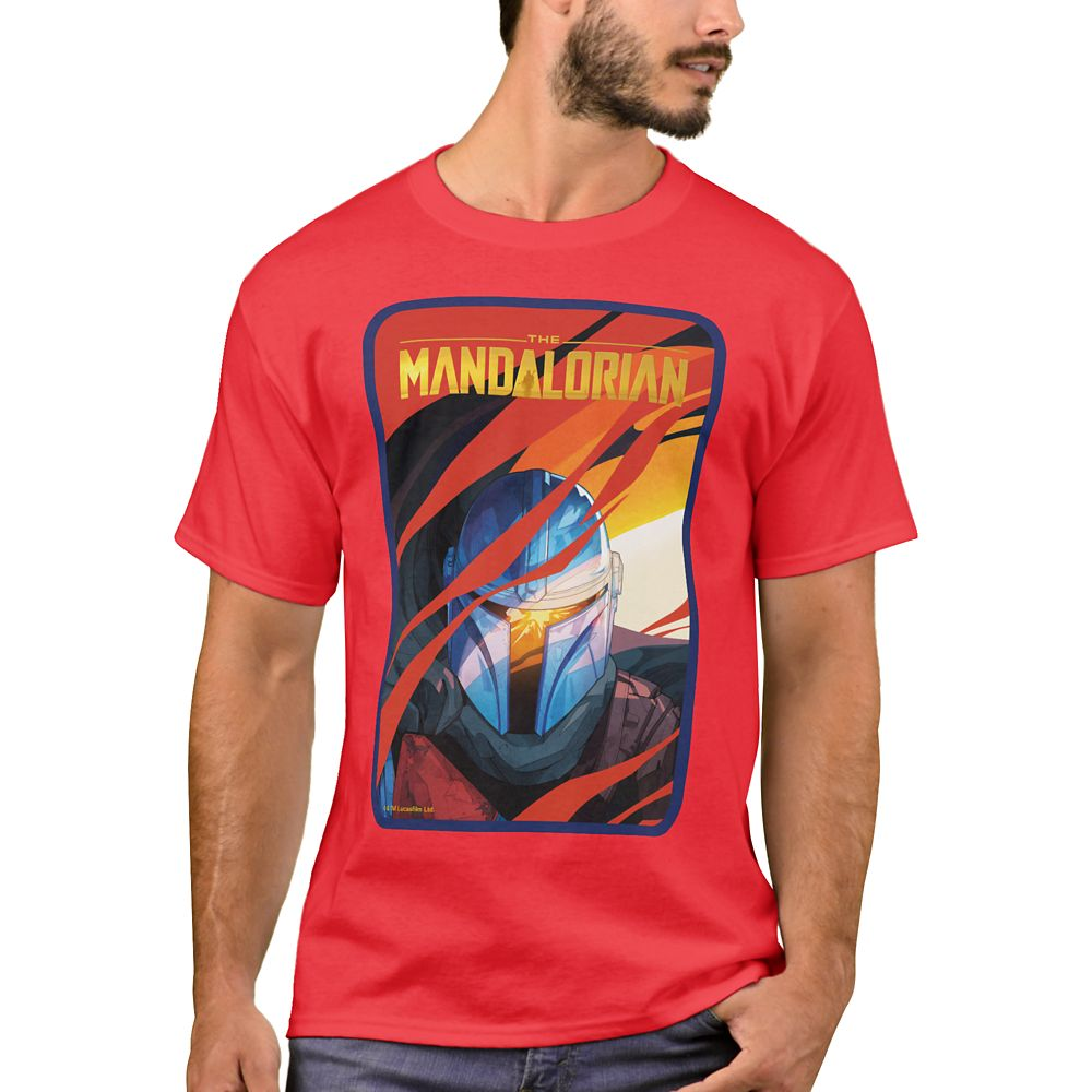 The Mandalorian Through Red Flames T-Shirt for Men – Customizable