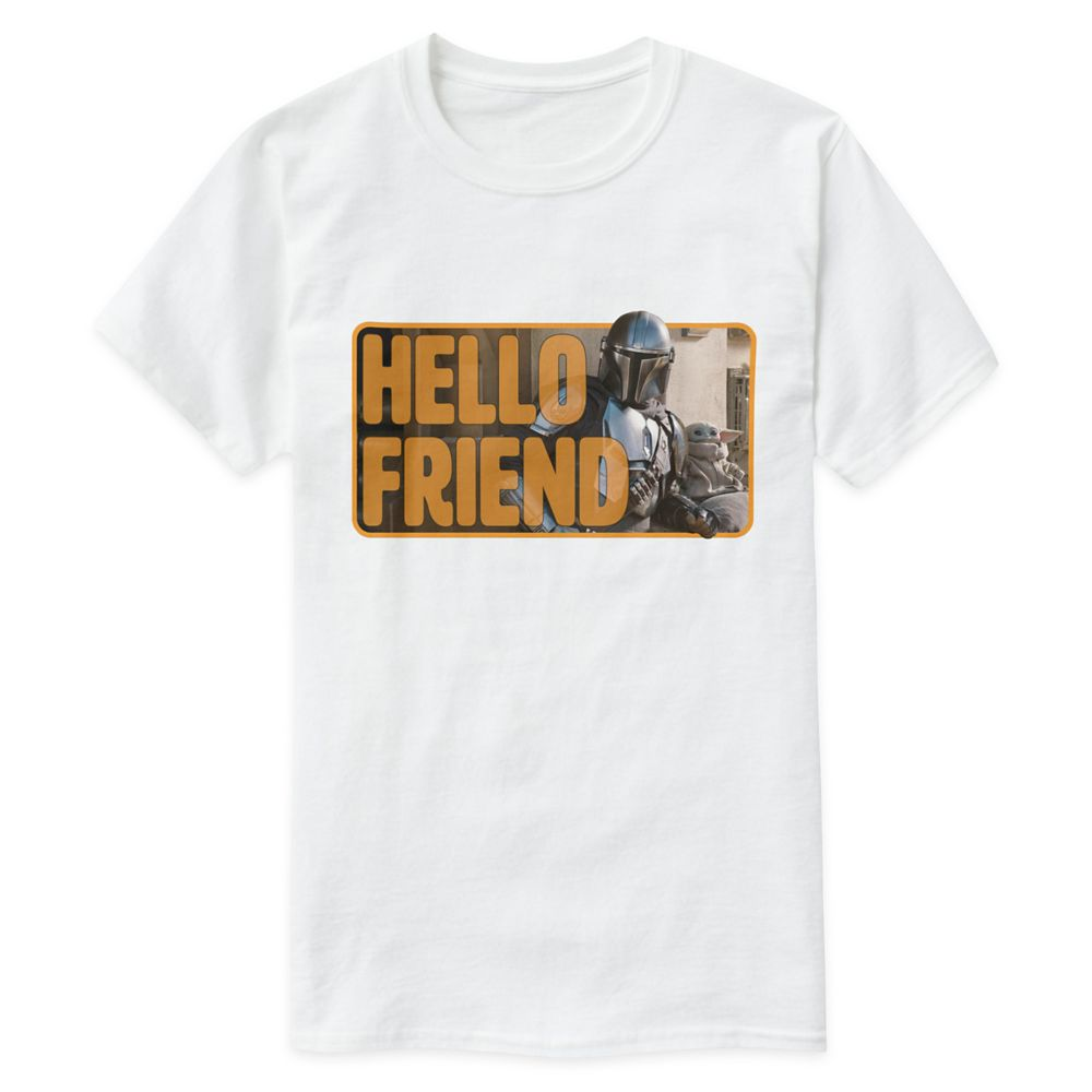"""shopdisney.com - The Mandalorian & The Child Outside """"Hello Friend"""" T-Shirt for Adults  Customized Official shopDisney 19.95 USD"""