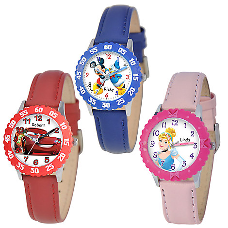 Time Teacher Watch with Leather Strap and Bezel for Kids - Customizable