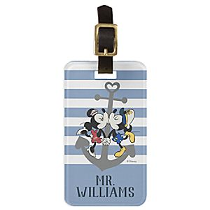 Mickey and Minnie Mouse Blue Luggage Tag - Customizable - Disney Cruise Line