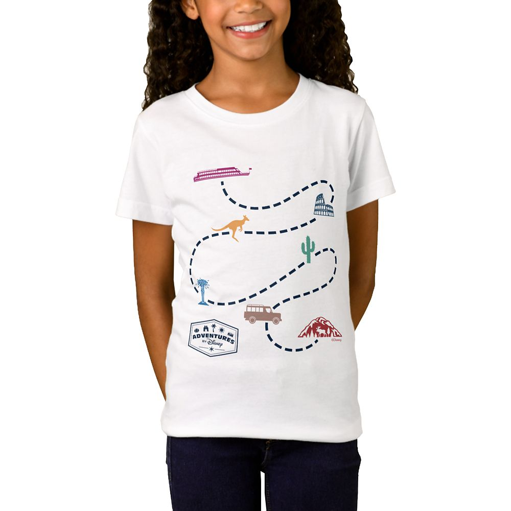Adventures by Disney Map T-Shirt for Girls  Customizable