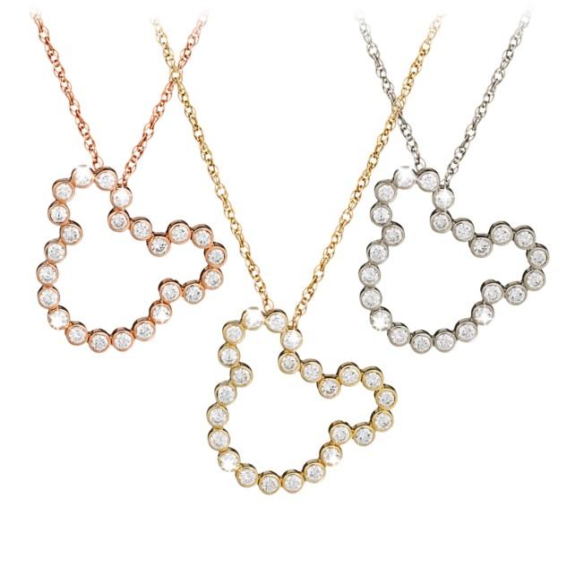 Diamond Mickey Mouse Silhouette Necklace – 14K