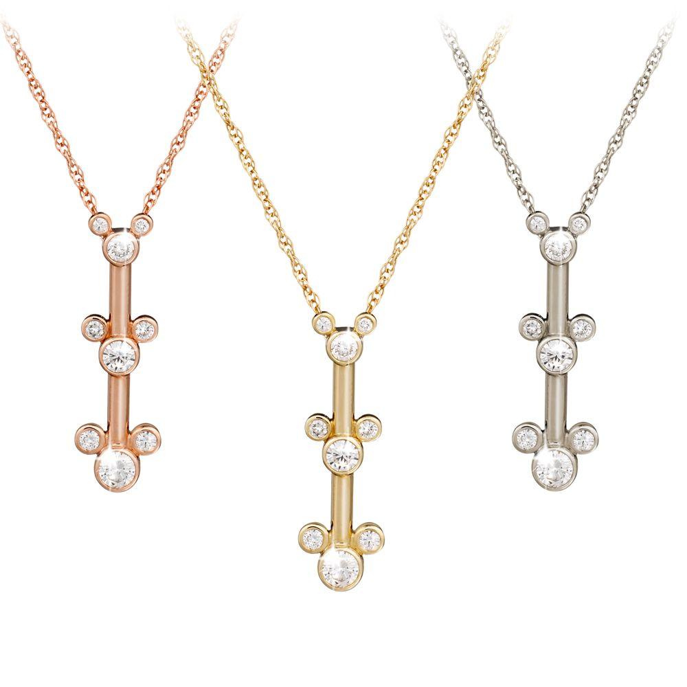 Diamond Mickey Mouse Three Icon Necklace – 14K