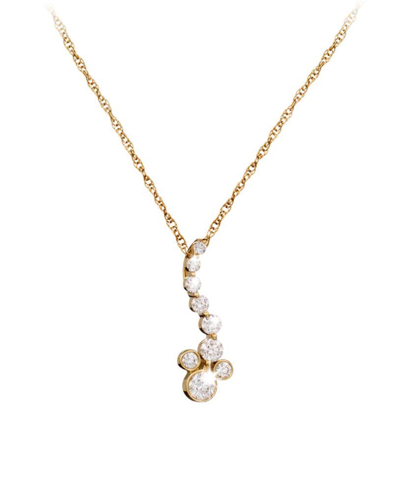 Diamond Pendant Mickey Mouse Necklace – 14K