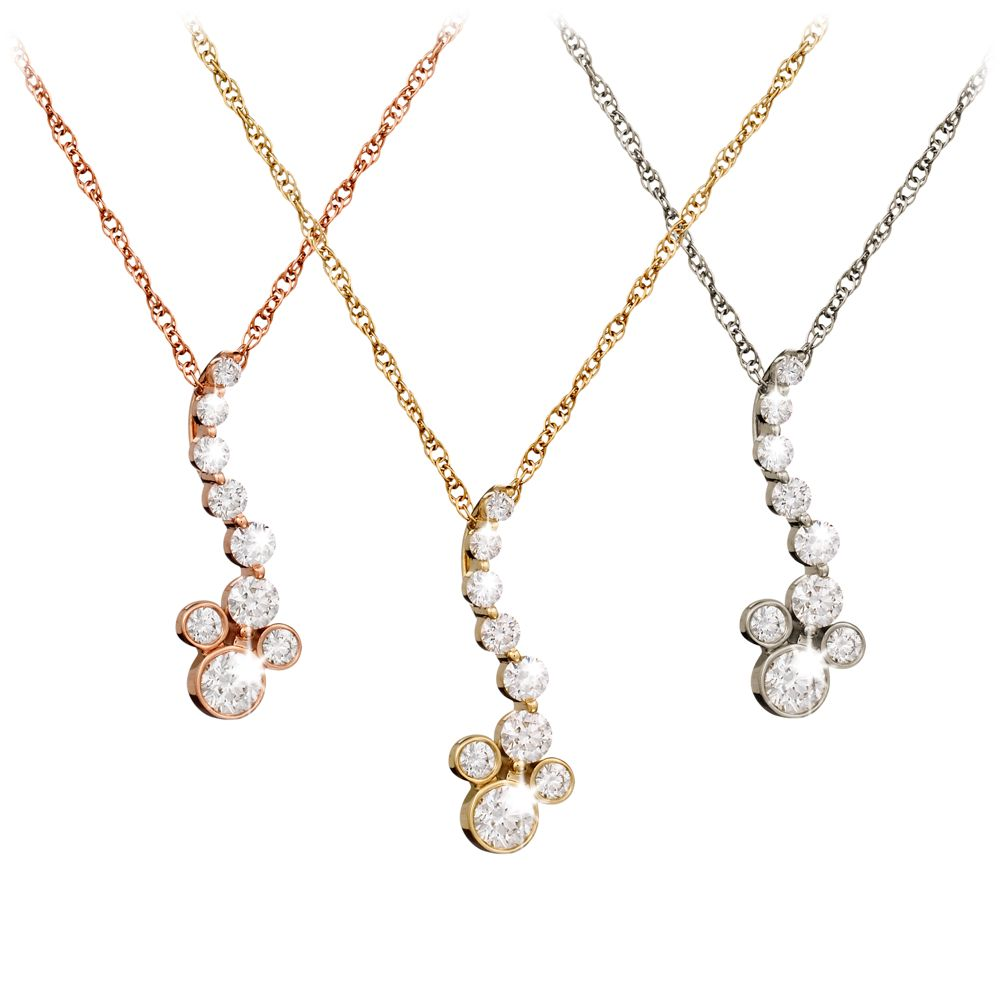 Diamond Mickey Mouse Pendant Necklace  18K Official shopDisney
