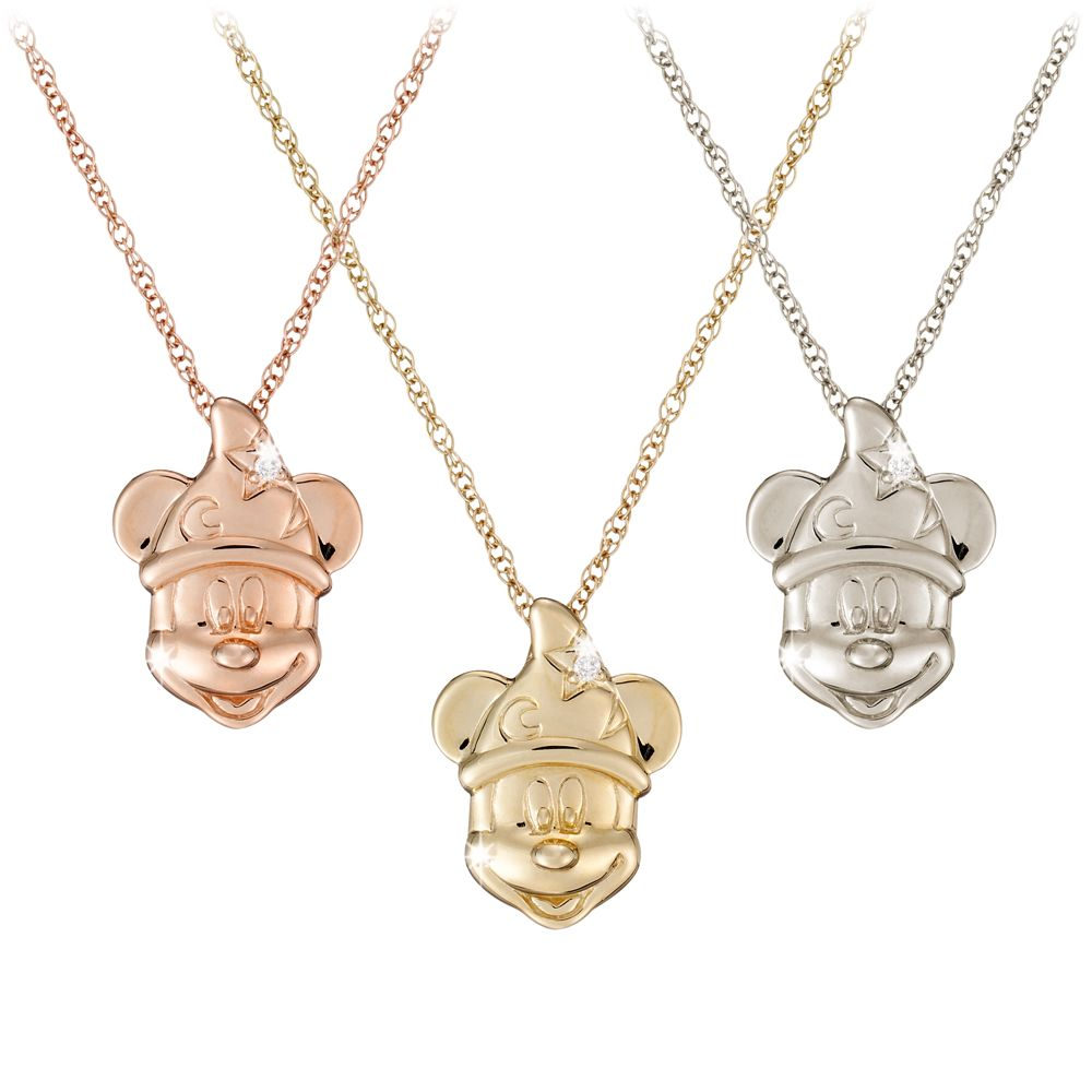 Diamond Sorcerer Mickey Mouse Necklace  14K Official shopDisney