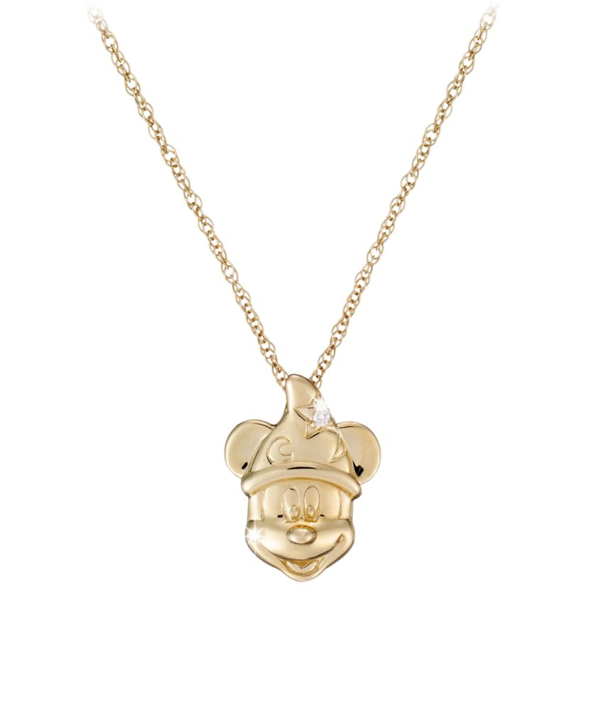 Diamond Sorcerer Mickey Mouse Necklace – 14K