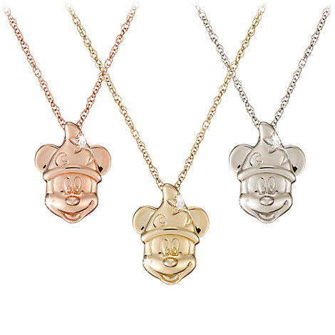 Diamond Sorcerer Mickey Mouse Necklace - 14K